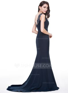 Trumpet/Mermaid Scoop Neck Sweep Train Chiffon Evening Dress With Lace Beading Sequins (017056498) - JJsHouse