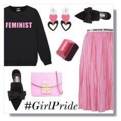 """Loud and Proud: Girl Pride"" by the-geek-goddess ❤ liked on Polyvore featuring Miu Miu, Prada, Henri Bendel, Bobbi Brown Cosmetics, Furla, womensHistoryMonth, pressforprogress and GirlPride"