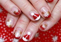 french nails für weihnachten rot weiß weihnachtsmannmütze goldene schneeflocken #nageldesign #nail