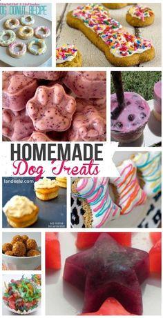 Homemade Dog Treat Recipes   landeelu.com Whip up a healthy homemade treat for your fur baby! #dogtreats