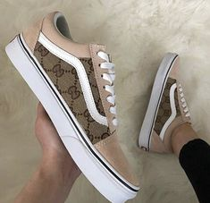 Shared by BrenPump ❤. Find images and videos about shoes, brown and vans on We Heart It - the app to get lost in what you love. Gucci Sneakers, Gucci Shoes, Sneakers Fashion, Shoes Sneakers, Women's Shoes, Customised Vans, Custom Vans Shoes, Souliers Nike, Tenis Vans