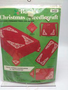 Vintage Christmas Bucilla Christmas Apron Cross Stitch needlepoint Kit Red White Poinsettia USA  #Bucilla #Apron
