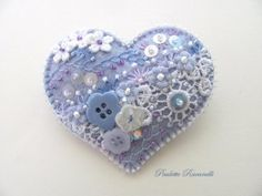 Felt Heart Pin / Crazy Quilt Style ♥ by Beedeebabee on Etsy, $26.00