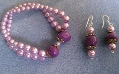 Purple Earring and Bracelet set by BoldenBoutique on Etsy, $22.00