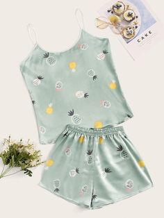 To find out about the Pineapple Print Satin Pajama Set at SHEIN, part of our latest Night Sets ready to shop online today! Cute Pajama Sets, Cute Pjs, Cute Lazy Outfits, Girl Outfits, Fashion Outfits, Satin Pyjama Set, Satin Pajamas, Pyjamas, Cute Pijamas