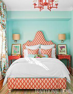Love the combination of aqua and coral in the bedroom! - Photo: Gordon Beall / Design: Shazalynn Cavin-Winfrey