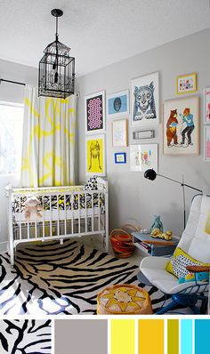 color palette: radical nursery. I love this, but more so with purple, hot pink, and lime green and some form of a cute yellow
