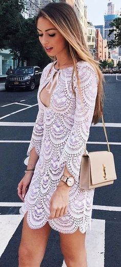 #summer #flawless #outfitideas | White Lace Little Dress