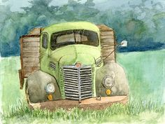This is a pen and watercolor sketch of an old International KB5 flatbed truck. For the painting I eliminated the two trucks that were sandwiching this one, clutter in the background and the fence in front of the truck.  #davidkingstudio - art, transportation, vehicle, farm, green 1948, '48, vintage, antique, abandoned, derelict, dilapidated, rusty, Wabi, sabi
