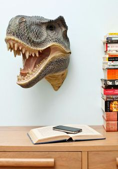 A hilarious take on taxidermy...! I want one! Fun for Your Life Wall Decor in Dino, #ModCloth