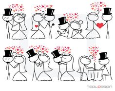 Stick figure people love wedding couple meeting cute family stickman clip art clipart digital Personal Use