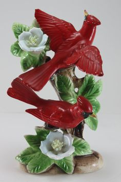 Vintage Red Cardinals Ceramic Porcelain Birds Figurine