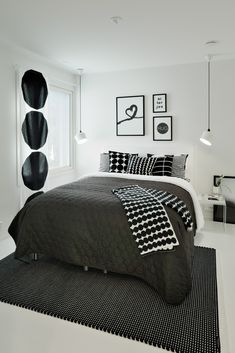 Elegant and Modern Master Bedroom Design Ideas 2018 Minimal Bedroom Design, Monochrome Bedroom, Minimalist Bedroom, Small Room Bedroom, Home Decor Bedroom, White Bedroom Decor, Interior Design Living Room, Room Inspiration, Marimekko