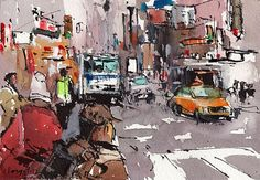 Original Cityscape Painting Ink Urban Watercolor City Sketch 5x7 Line and Wash - Public Transportation by David Lloyd