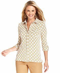 Charter Club Top, Three-Quarter-Sleeve Printed Shirt