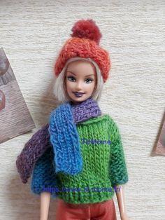 Barbie Knitting Patterns, Barbie Patterns, Barbie And Ken, Barbie Clothes, Crochet Hats, Fashion, Long Scarf, Sewing Barbie Clothes, Barbie Dress