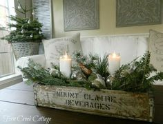 Decorations – Winter Table Ideas & More! Winter Decorations - Winter Table Ideas & More! - MoreWinter Decorations - Winter Table Ideas & More! Cottage Christmas, Farmhouse Christmas Decor, Noel Christmas, Primitive Christmas, Rustic Christmas, Christmas Crafts, Natural Christmas, White Christmas, Christmas Mantles