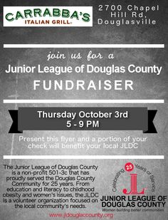 Come join us at Carrabbas on October 3rd for dinner. A portion of the proceeds from the night will be donated to the Junior League of Douglas County!  #juniorleague #jldc #carrabbas #fundraiser