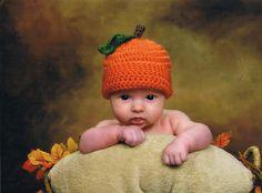 Pumpkin Baby Hat Girls Boys Crochet Halloween Fall Autumn Orange Cap Beanie Preemie - Two Years Old Photography Photo Prop via Etsy