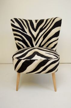cocktail chair in Zebra linen. Animal Print Furniture, Cocktail Chair, White Houses, Animal Prints, Mid Century Design, Furs, 1950s, Interior Decorating, Archive