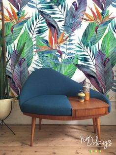 Bird of paradise floral wallpaper Tropical wall mural Removable wallpaper Self_adhesive wallpaper roll Leaves wall decor Living Room Upholstery, Upholstery Cushions, Upholstery Foam, Wallpaper Roll, Wallpaper Samples, Adhesive Wallpaper, Paradis Tropical, Paradise Wallpaper, Poster Mural