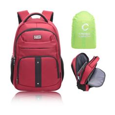 CrossLandy Red Business Laptop Backpack For Men Backpacks Adults With Rain Cover Travel Bag