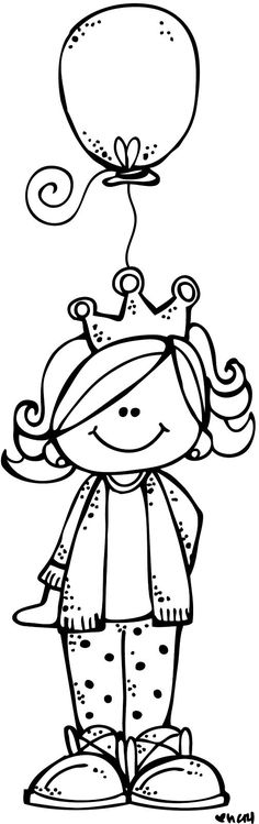 Girl With Balloon - Melonheadz Illustrating Birthday week Day :) Princess Coloring Pages, Colouring Pages, Coloring Pages For Kids, Coloring Sheets, Coloring Books, Birthday Week, Birthday Cards, Copics, Digital Stamps