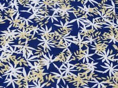 #Marine x Gold - Popeline de coton - Feuillages
