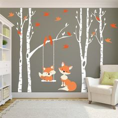 Woodland Nursery FOX & Trees Wall Decal 4 Birch Trees Nursery Decor Baby FOX Decal Swings from Branch Wall Decal Forest Baby Bedroom - 4 Removable Vinyl Decal River Birch TREES with 6 branches, and 1 swing in the color of your choice -