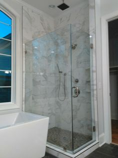 "26 Davant Place Columbia, South Carolina Master bath Frameless 3/8"" monolithic-glass shower enclosure"