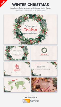 This free presentation template is pure eye-candy for your audience. The holly wreath in the cover will help you start with the right Christmas mood. Furthermore, all the slides in this design are decorated with winter foliage that convey a homely message of calm. Holly Wreath, Christmas Mood, Presentation Templates, Eye Candy, Calm, Pure Products, Cover, Free, Design