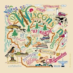 Wisconsin!  Great doodle featuring some of the prominent features about our state.