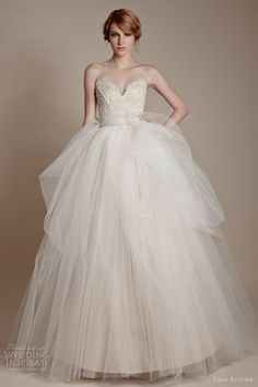 ersa atelier #bridal 2013 strapless tulle #gown off-white beige ivory #wedding #dress