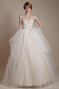 ersa atelier #bridal 2013 strapless tulle #gown off-white beige ivory #wedding #dress
