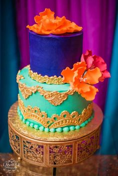 Gorgeous cake at a Moroccan birthday party! See more party planning ideas at CatchMyParty.com!