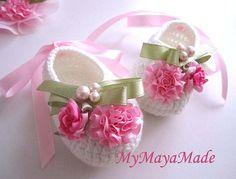 Pink Flowery moldeados Crochet botines del bebé - Tamaño De 0-12mos