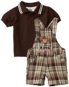 NWT Little Rebels Monkey Baby Boys Plaid Beige Romper /& Hat Set