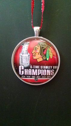 NHL Chicago Blackhawks 6 Time Stanley Cup 2015 Champions Hockey Ornament by HeartNSoulGiftsNMore on Etsy