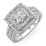 1.10 Carat (ctw) 14k White Gold Brilliant Round Cut Diamond Ladies Vintage Engagement Bridal Ring 1 1/10 CT - Dazzling Rock