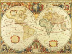 Antique World Map wall mural.  Maybe for boy's room