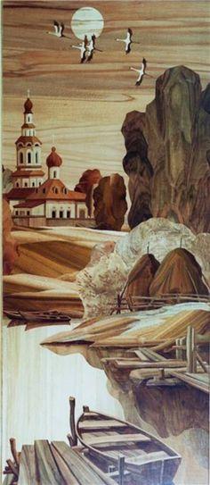 Мозаика : Триптих Русь уходящая. Маркетри.. Автор Евгений Михайлович Хоменко