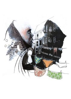 Ingenious print of collage by Solveig Hvidt, made from original with paper cuts, ink, acrylic,  and crayons.