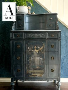 How To Use an Image Transfer to Transform Vintage Furniture | Paint, glaze, wax and one stunning image transfer can improve a flea market find into a one-of-a-kind piece for cheap!