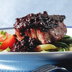 Thyme & Pepper-Rubbed Filet Mignon with Blueberry-Bourbon Barbecue Sauce. JK: Really good, but feels like a waste of filet mignon--use cheaper cut. Bourbon Barbecue Sauce Recipe, Barbecue Recipes, Beef Recipes, Cooking Recipes, Barbeque Sauce, Fruit Recipes, Grilling Recipes, Burger Recipes, Cooking Tips