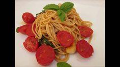 Receita rapida e saudavel, de Spaghetti integral com tomate cereja, alho...