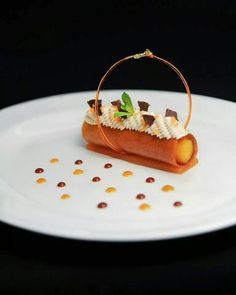 Ptisserie (plated desserts fancy)You can find Plated desserts and more on our website. Fruit Recipes, Gourmet Recipes, Dessert Recipes, Gourmet Foods, Cheesecake Desserts, Dessert Mousse, Decoration Patisserie, Fancy Desserts, Layered Desserts