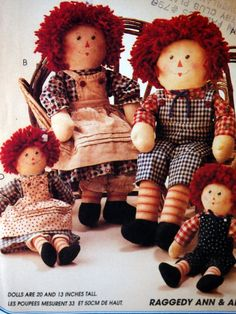 Raggedy Ann & Andy Doll Pattern McCall's Crafts by NeedANeedle
