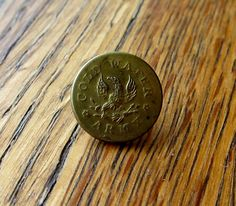 Antique Rare Temperance Movement Cold Water Army Brass Button