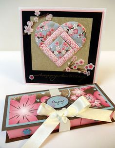 handmade card from A Star For Chiemi ... Japanese paper quilt pieced heart on gold with cherry blossoms ... gorgeous!