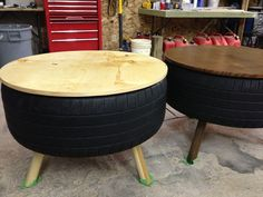 maybe use paint or fabric to cover rubber for less industrial look- great idea, also put bottom circle plywood and attach legs to it - much easier